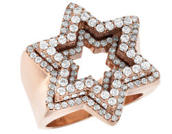Real Diamond Star Frame Mens Pinky Ring In Solid 10k Rose Gold 1 3/4 Ct 24mm