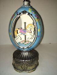 9 Tall Egg W/ Rotating Carousel Horse And Wind-up Music Box Plays Carousel Waltz
