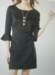 NWT Womens MIK by Jump Design Group Black Bell Sleeve A-Line Dress Size Small