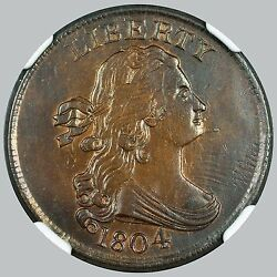 Unc Ngc 1804 1/2c Spiked Chin Draped Bust Half Cent C-6