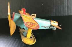 Very Rare Early 1930and039s Louis Marx And Co. Wind-up Biplane Plane New York
