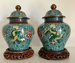 Pair Very Fine Old Chinese Cloisonne Ginger Jars And Lids Foo Lions Dogs Stands