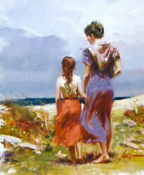 Pino Giclee Canvas S/ Summer Afternoon Mother Daughter Beach Scene Coa 26x22
