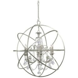 Crystorama Solaris 6 Light Crystal Silver Sphere Chandelier Ii - 9219-os-cl-mwp