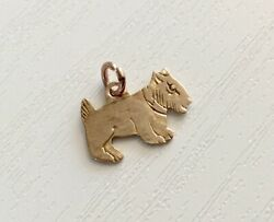 Lovely Sweet Early Vintage 9 Carat Gold Scotty Dog Type Charm  Pendant