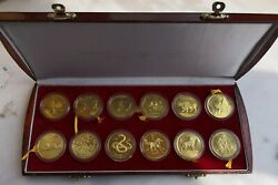 Shanghai Minta Set Of 12 Brass Chinese Lunar Medals From 1981-1992 China Coin