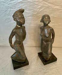 Art Moderne Plaster Statues Of Nubian Dancers By Fred Press 1950's