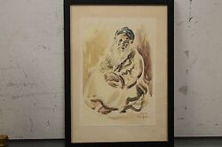 Vintage David Gilboa 1952 Watercolor Print Jew From The Atlas Mountains Hebrew