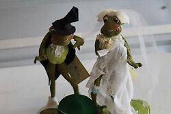Vintage Rare Annalee Dolls 10 Bride And Groom Frog Made In Meredith, Nh, 1969