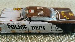 Vintage Car Tin Toy Police Patrol Japan 1960's Oricinal 33 Extremely Small