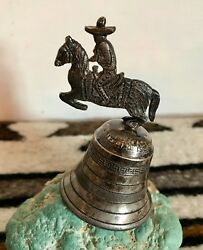 Charro Rare Early Sanborns Mexico Sterling Silver Bell Cowboy On Horse Handle