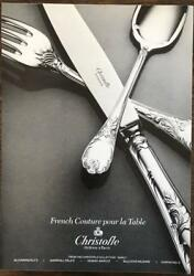 1984 Christofle Sterling Silver Flatware Print Ad Marly Pattern
