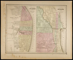 Plan Ancien [1857,colton] St Louis And Chicago. Antique Map Missouri And Illinois