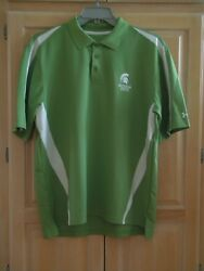 Michigan State Mens Golf Shirt Polo Under Armour Loose Heat Gear Size Large New