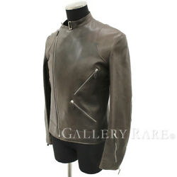 HERMES Biker Jacket Lamb Leather Brown Outer Size 48 France Authentic 4975656