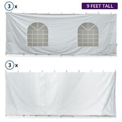 40' Hexagon High Peak Tent Sidewall Kit Solid And Cathedral Window 16 Oz Block-out