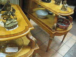Antique 1930and039s / 1940and039s French Empire Style Pair Of 2 Tier Side Tables