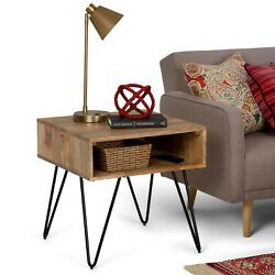 Solid Mango Wood and Metal Industrial Square Bedside End Table with Hairpin Legs