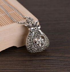F05 Pendant Purse Wallet with Bow Sterling Silver 925 and Marcasite