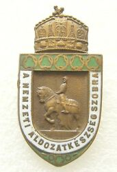 Y873 Hungary Statue Of National Sacrifice Wwi Official Enameled Bronze Badge