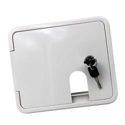 White Abs Plastic Electric Power Cord Cable Hatch Square Cover W/ Lock Keys