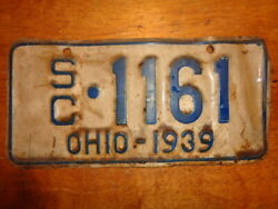 1939 Ohio Motorcycle Sidecar License Plate