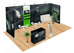 Trade Show Fabric Tension Quick Pop-up Booth 20 Ft Tv Monitor Shelves -a17