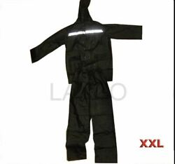 Rain Suit Set Black Hood With Neck Cord Zipped Front Twin Pocket