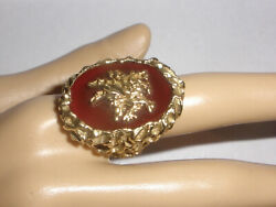 Exquisite Large Vintage 14k Gold Textured Carnelian Chinese Dragon Ring Size 8