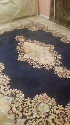 Beautiful Rug Navy Blue With Pastel Colors Large Room Rug Great Deal Authentic