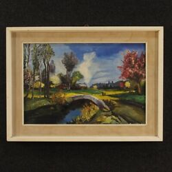 Painting Painting French Oil Canvas Paesaggio Antique Style Impressionist 900