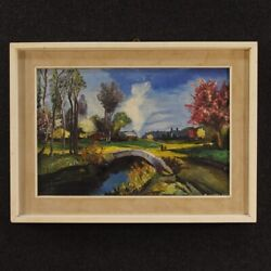 Painting Painting French Oil On Canvas Paesaggio Antique Style Impressionist 900