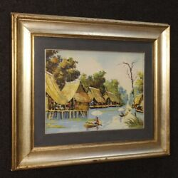 Painting Oil On Canvas Framework French Frame Oriental Landscape Antique Style