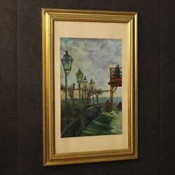 Painting Painting Signed Italian Paesaggio Antique Style Impressionist Frame