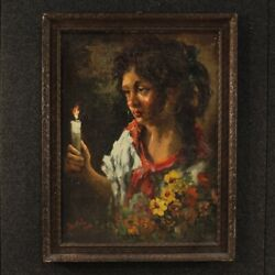 Painting Portrait Signed Frame Italian Oil On Masonite Gypsy Antique Style 900