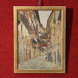 Painting Oil On Cardboard Landscape View Frame Italian Work Antique Style 900 Xx
