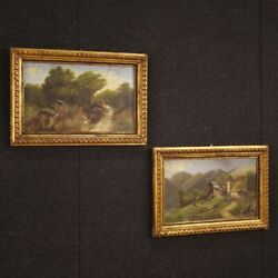 Couple Painted Italiani Signed Paintings Landscapes Oil On Cardboard Frames 900
