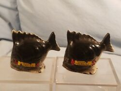 Vintage Souvenir Fish Salt And Pepper Shakers Grassy Butte Nd - Made In Japan