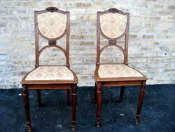Antique Art Nouveau Side Or Bedroom Chairs - Carved Walnut- From France