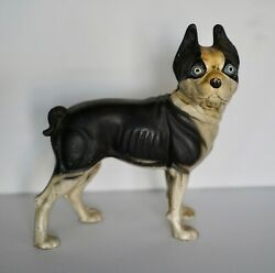 LOVELY ESTATE HEAVY HUBLEY STYLE BOSTON TERRIER DOG CAST IRON DOOR STOP