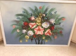Unusual Vintage Oil Painting By Listed Artist Robert Cox Bold Still Life24x36