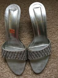 Party Wear Evening Silver Heels Shoes Stone Work Size 8 Pre owned $12.00