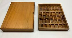 Engraving Brass Font Letters Numbers Wooden Box 204 Piece Lot 101378