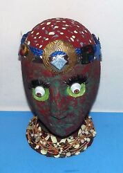 Zombie Face mannequin Head Figure W Beaded Head Band And Necklace Approx 10x7