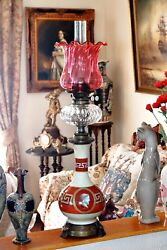 Antique Very Rare English Victorian Hinks And039gregg And Sonand039 Grecian Style Oil Lamp