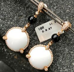 Estate .67ct Diamond And White Agate And Onyx 18k Rose Gold 3d Halo Hanging Earrings