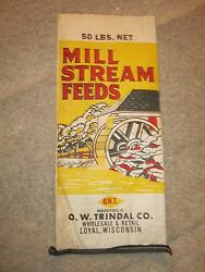 2 Vintage Mill Stream Feed Bags - O.w. Trindal Co Loyal, Wisconsin - Advertising