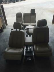 2007-2014 Ford Expedition Navigator Front Rear Seat Set Tan Leather Heated Cool