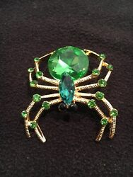 Vintage Green Black Rhinestone Marquise Spider Gold Brooch Bug Insect Crystal