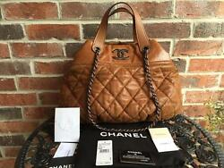 AUTH CHANEL BROWN QUILTED IN-THE-MIX SATCHEL TOTEsold outCelebrity's favorite